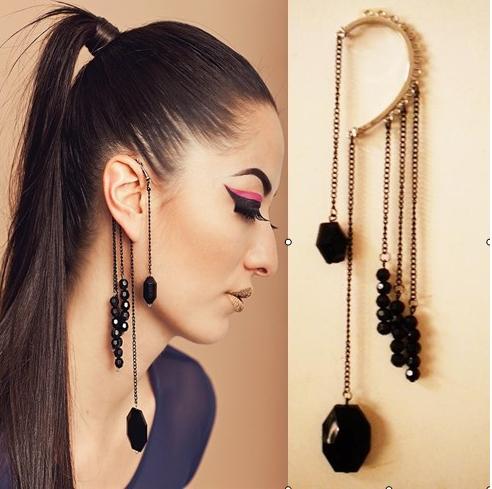 2014 Fashion vintage black rivet bead ball beads long flower tassel ear clip punk rock earrings jackets ear hook women banquet(China (Mainland))