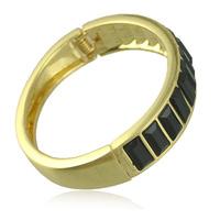 Hot Selling New Designer Jewelry Charming 18k Gold Color Alloy Black Imitation Gemstone Bracelets And Bangles For Women