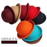 Ms. Han Han Guoqiu winter woolen dome small version of curling hat jazz hat factory wholesale