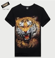 2014 Free Shipping Male Casual Fit Cotton 3D T-shirts,Short-sleeved Tiger Print Mens New Famous Brand T shirts