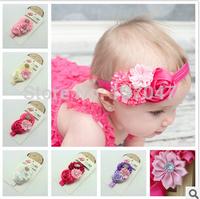 HD002 Baby Girls Headbands New 2014 Toddlers Kids Infants Floral Hairband & Big Chiffon Headbands Children Accessories 10pcs
