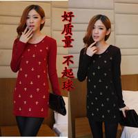 women autumn winter thicken outerwear Pullovers hoodies 2014 spring print Knitted cotton slim waist Sweatshirts sportswear