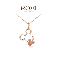 2014 New Fashion Jewelry Rose Gold Plated Statement Cute Mickey Necklace For Women Party Wedding Free Shipping