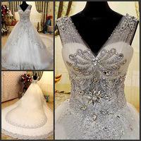 Free shipping wedding dress lace +oganza+crystal+diamond+big catherdral/royal train