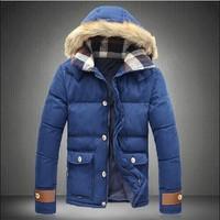 New 2014 fashion men's winter duck down jackets  fur hooded warm casual men overcoat coats parkas