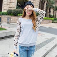 2014 autumn new long-sleeved lace stitching bat Korean women loose big yards women's t-shirt