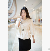 New han edition 2014 haining leather women's special offer seven imitation rabbit hair round collar sleeve in long coat