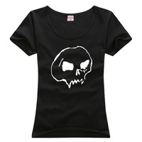 100% Cotton Women's Tees skeleton pattern T-Shirts S/M/L/XL Fashion Large Size Shirts short sleeve more colors