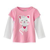 Wholesale girl patchwork pink spring autumn cotton t shirt basic long sleeve t shirt 6pcs/Lot Free shipping