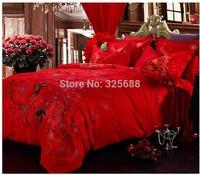 red 100% cotton jacquard fabric figured 4-piece printed comforter bedding sets bedding sheet bedspread pillowcase