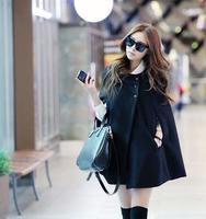 new 2014 fashion Batwing Wool Casual Poncho for Women Winter Coat Jacket Loose Cloak Cape Black Outwear 189
