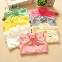wholesale high quality 15pcs/lot kids long sleeves t shirts Korean girls cotton shirt solid color bow turtleneck T -shirt