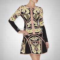 Vestidos Casual Free Shipping New Fashion Winter Dress 2014 Women Bodycon Bandage Vestido Suits Long Sleeve Brand Same Dress 2pc