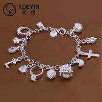 Jewelry Wholesale 10pcs/lot H144  Latest Women Classy Design 925 silver plated bracelet Factory Direct Sale