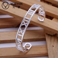 Jewelry Wholesale 10pcs/lot B099  SGS Test Past Latest Trendy Classic 925 Silver Plating Bangle
