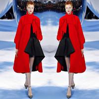 New 2014 Europe and America Winter Coat Women Thicken Super Long Woollen Coat Casual Cloak Style Overcoat Plus Size JC059