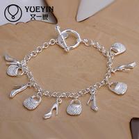 Jewelry Wholesale 10pcs/lot H108  Latest Women Classy Design 925 silver plated bracelet Factory Direct Sale