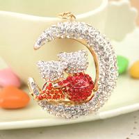 Christmas Gift Full Rhinestone Crystal Couple bear on Moon  Keychain Alloy Keyring handBag Charm Real Gold Plated ,Nickel free