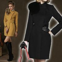 2014 European High-end Brand Winter Coat Women Thicken Slim Long Woollen Coat Elegant Lady Fox Fur Collar Overcoat  JC061