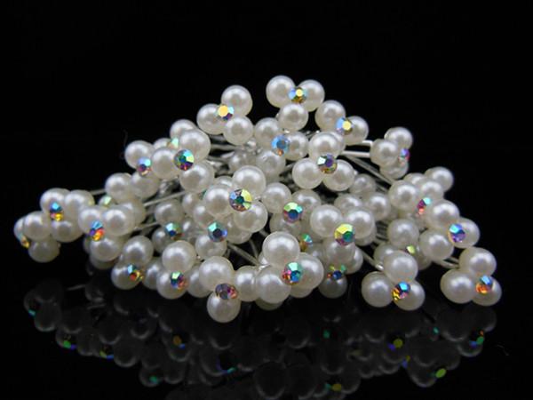 30 Pcs/Lot White Pearl Crystal Rhinestone New Fashion Hairpin Wedding Prom Bridal Hair Stick Hair pins Mini size Free Shipping(China (Mainland))