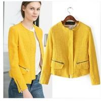 Brand New 2015 Women's Chic Brand Design Woven Zipper Deco Slim Jacket Streetwear jackets SML