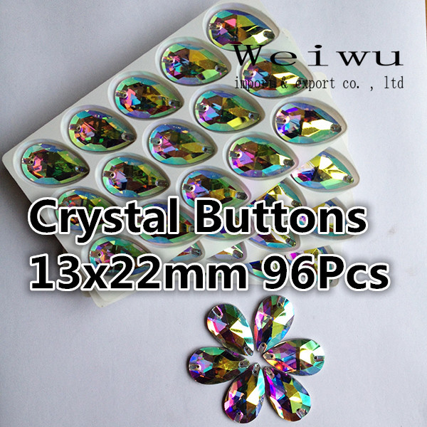 Water Dorp Crystals 96pcs 13x22mm Bulk Packing Crystal AB Crystal Buttons Use For Bags Garment Shoes(China (Mainland))