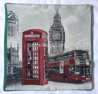 London souvenirs jacquard pillow case cushion cover vintage London Big Ben BUS and TELEPHONE cushion cover  2014 new design