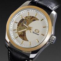 Black watch men mechanical automatic black genuine leather band business winner skeleton dial hollow moon shape dropship