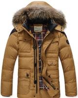Free shipping 2014 Winter New Men's Down Jacket Brand Natural Fur Collar Plus Thick Warm Jacket Men Wholesale Down Coat M-3XL
