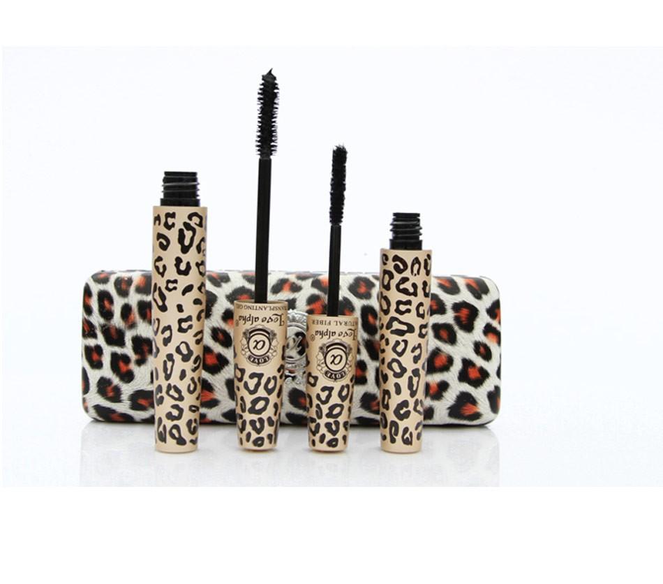 Makeup Leopard Print Mascara Set Waterproof Cosmetics Maquillage Long Lush Eyelash Eyelashes Love Alpha Make Eyes