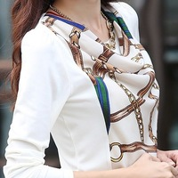 New 2014 Korean Style Fashion Women Luxury Top White Blouse Chiffon Shirts Long Sleeve Printed Pattern Slim Fit Office Blouses
