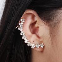 2014 New Women Gold Flower Rhinestone Ear Cuff Stud Earrings Ear Clips,Free Drop shipping