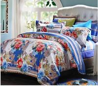 jacquard fabric 100% cotton figured 4-piece printed comforter bedding sets round bedding sheet bedspread / pillowcase FENK