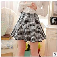 Korean Skirt 2014 Winter Autumn Skirt Women Fashion High Waist Shorts Pleated Skirts Female Retro Knitting Skirts For Women