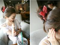 free shipping mix design=10pc=1 lot  Korean hair accessories Polka Dot dot stripe rabbit ears  rubber band head flower wholesale