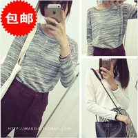 L351B New 2014 Women's Sweater Thin Long Sleeve O-Neck Grey Knitted Outwear Autumn Winter Tricotado Woman Pullovers
