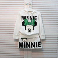 Retail+Free shipping New 2014 Autumn Children kids clothes sets,Baby cartoon Minnie clothing set,Long sleeve Shirt+Skirt,hot