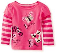 Wholesale girl basic long sleeve pink  t shirt  spring autumn cotton t shirt  6pcs/Lot Free shipping
