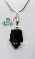 #on sale#  black sord  sabre crystal lazurite/azure stone purfume bottle in pendant necklace