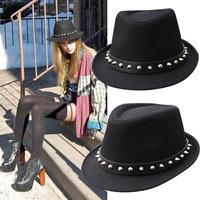 New Arrival Men Women Unisex rivet Fedoras Trilby Cuban Style Upturn Short Brim Cap Hat WF-921