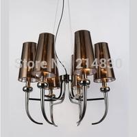 free shipping post modern simple LED pendant candle light with 6 light E14 led candle light with lampshdae