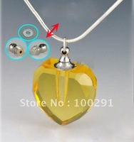 Gary magic  Aromatherapy necklace yellow Crystal pure oil bottle necklace vial bottle heart pendant DFG09, free ship!!!!