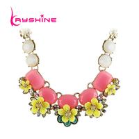 2014 New Fashion Necklace Green Pink Imitation Gemstone Alloy Big Flower Choker For Women