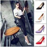 Free shipping new 2014 neon color high heel women pumps PU leather shoes stiletto heels 9cm women heels
