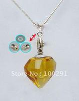 #on sale# Gary's yellow crystal QWE805 lazurite/azure stone heart pendant necklace 2012, bulk!!!!!!!
