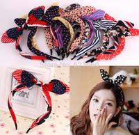 free shipping  3pc =1 lot Original handmade headdress Korean wave point stripe bow hair bands rabbit ears headband