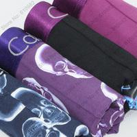 4 pcs/lot Sexy Skull Men Underwear Cotton Best quality brand Boxers Shorts cueca Color Black  Navy  Dark purple  Light purple