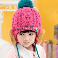 2014 new winter kids beanie hand hook knit hat gorro crochet cap bh-26