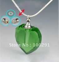 Bulking magic  Aromatherapy necklace 7 colors Crystal pure oil bottle necklace vial bottle heart pendant DFG03, free ship!!!!