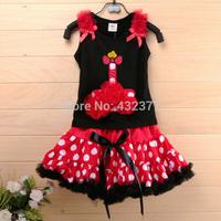 hot sale christmas Baby Clothing Set Baby Girl Christmas dress Set ,black vest + red tutu skirt